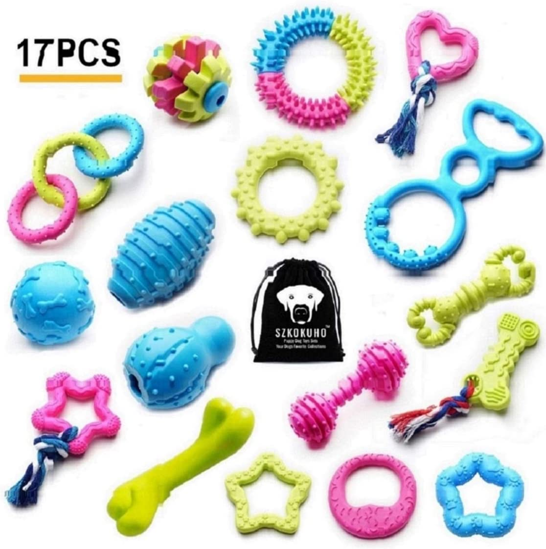 SZKOKUHO 17 Packs Durable Pet Puppy Dog Chew Toys Set Puppy Teething Ball Toys Puppy Rope Dog Tug Toy Safety Design
