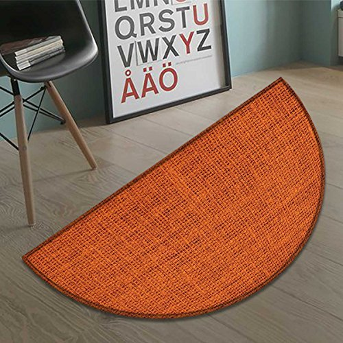 (haommhome Orange bath mats for floors Faded Burlap Texture Image Background of Macro Thick Fabric Graphic Design Print door mat indoors Bathroom Mats Half Moon Non Slip Burnt Orange size:35.5