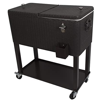 Amazon Com Hio 80 Qt Outdoor Patio Cooler Table On Wheels With