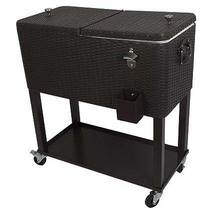 Amazing HIO 80 Qt Outdoor Patio Cooler Table On Wheels, With Shelf, Dark Brown  Wicker