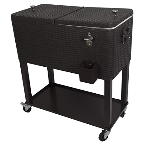 HIO 80 Qt Outdoor Patio Cooler Table On Wheels, With Shelf, Dark Brown  Wicker