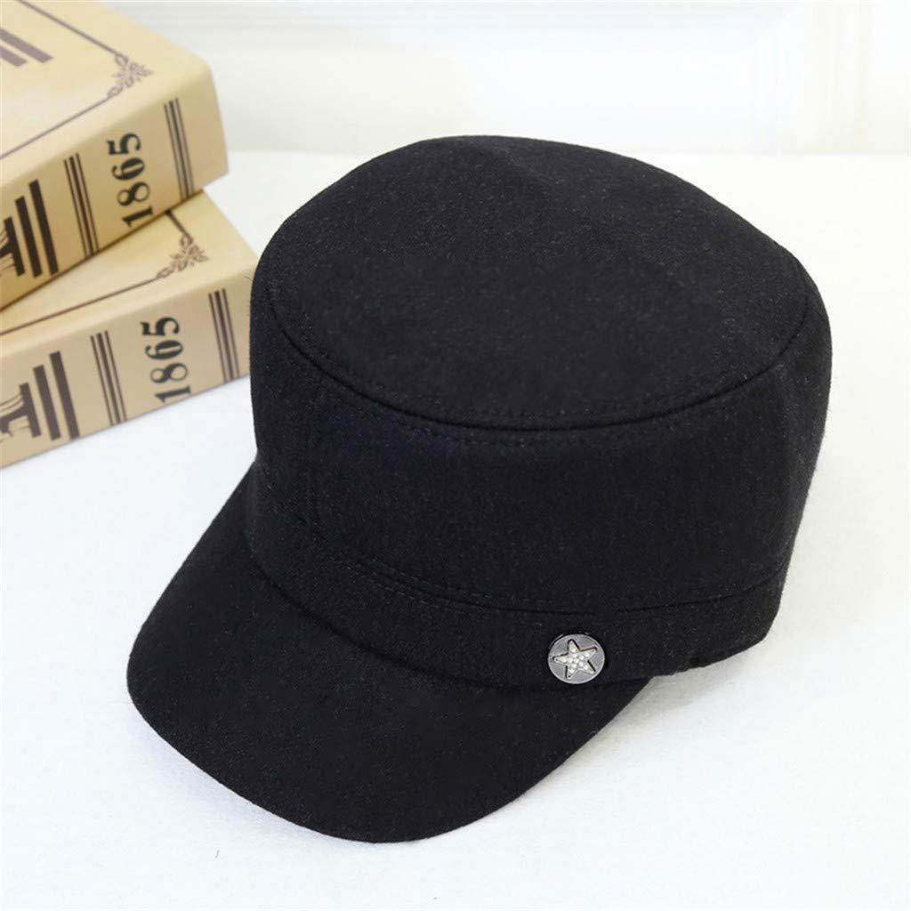 LEXUPA Mens Warmer Felt Outback Hat Belt Buckle Fedora Cap Protection Ear Hat