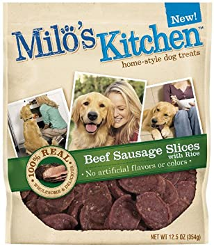 Amazon.com : Milo\'s Kitchen Dog Treats, Beef Sausage Slices with ...