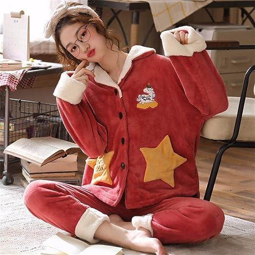 Pijama Mujer Algodon Invierno Invierno Gruesa Pijamas de Las Mujeres Ropa de Dormir Conjunto Caliente Larga de Las Mangas Mujer Pijamas Establece Linda Traje Homewear Inicio (Color : B, Size : L):