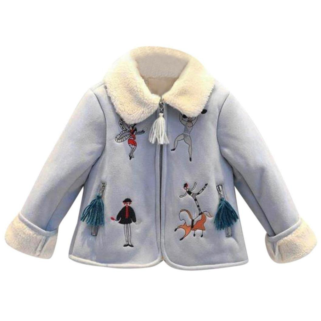 FimKaul Coat,Baby Girls Thick Suede Printing Cardigan Outwear Coat (7T, Light Blue)