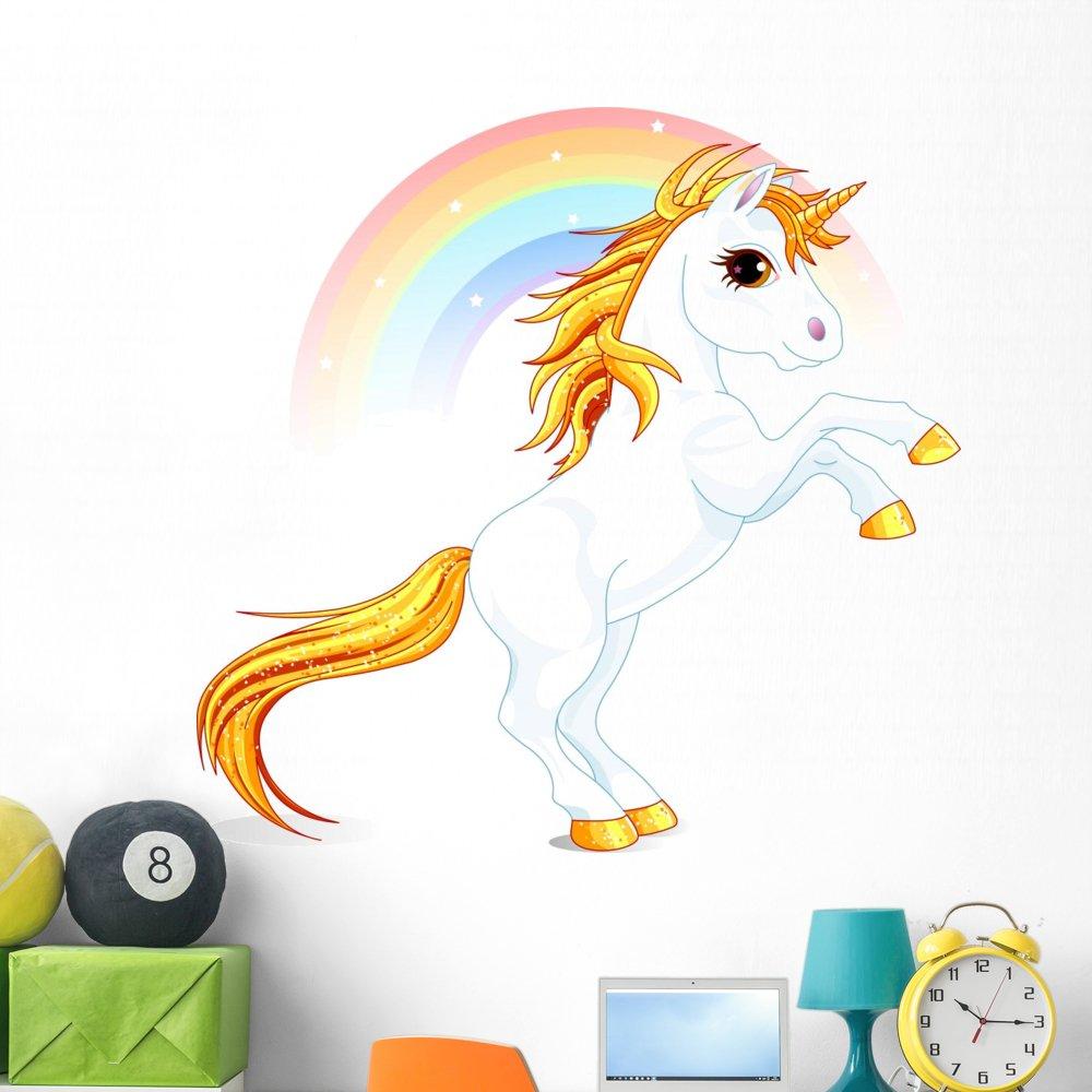 Wallmonkeys Unicorn Wall Decal Peel and Stick Graphic WM170199 (48 in W x 47 in H)