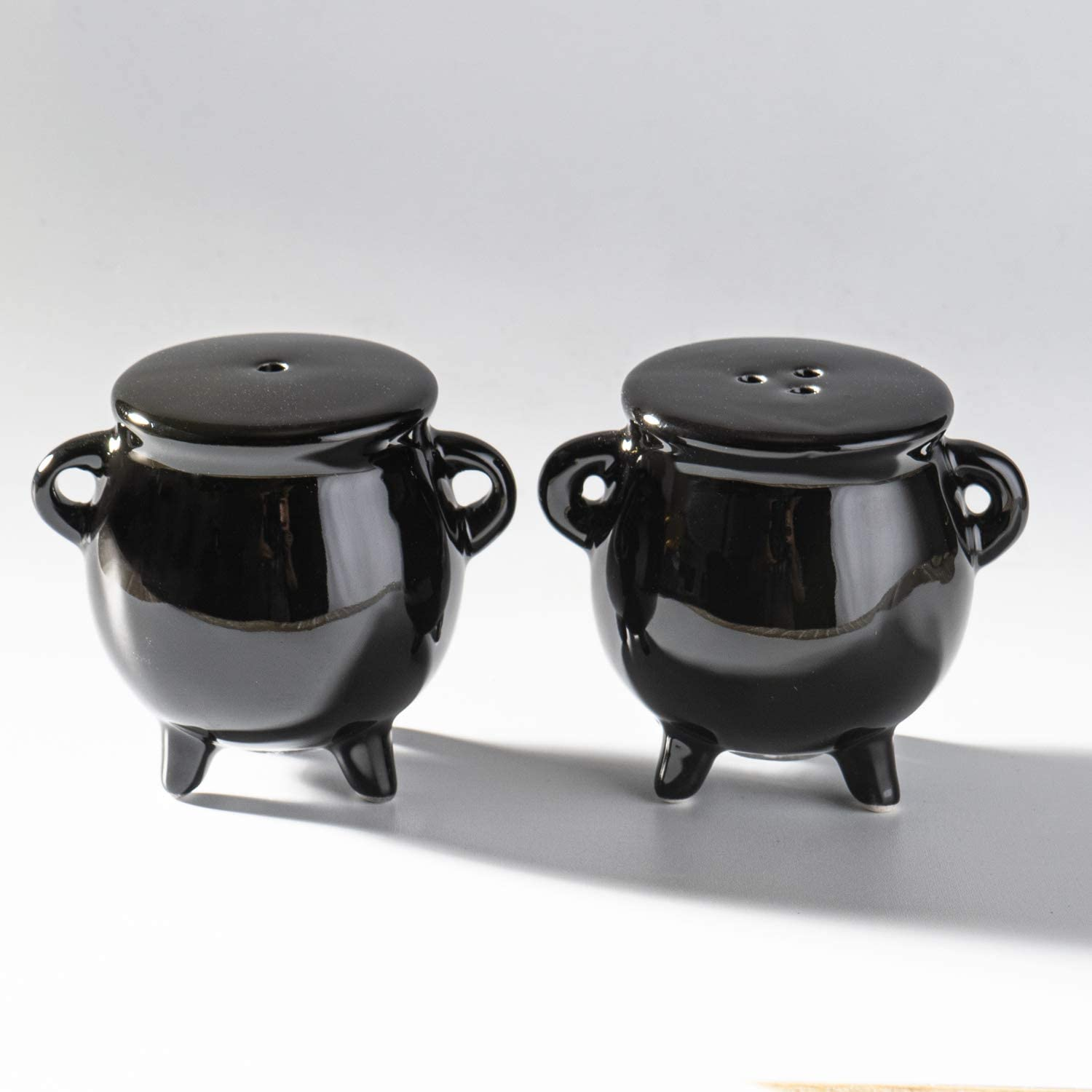 Summit Collection Witches Cauldron Black Magic Spell Potion Ceramic Salt and Pepper Shaker Set 2.4 inches Tall