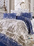 LaModaHome Mariner Coverlet, 100% Cotton - Ships are Floating, Blue and Cream, Compass - Size (61'' x 78.7'') for Twin and Single Bed