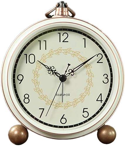 Maxspace Alarm Clock, Retro Non-Ticking Table Clock Battery Operated Small Alarm Clock with Quartz Analog, Desk Clock for Bedrooms Living Room Decor Kids Arabic