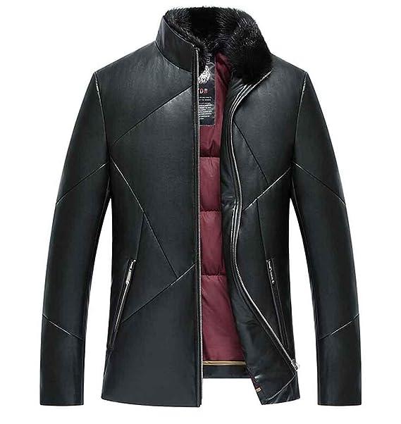 PJK chaqueta de invierno para hombre de cuero abrigo de piel fina parka forro polar Cuello de piel desmontable, black, 3xl: Amazon.es: Ropa y accesorios