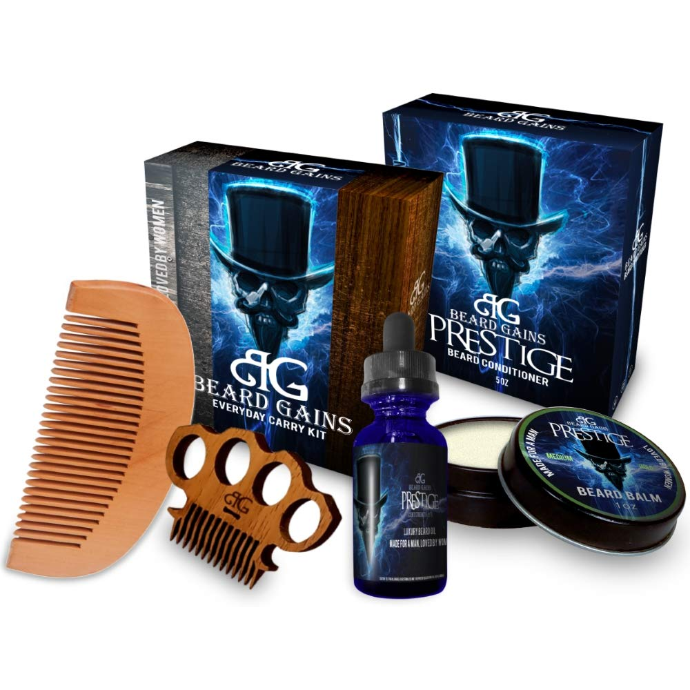 BEARD GAINS Prestige Complete Every Day Carry Kit 100% Organic Scented Beard Care Kit W/Beard Oil, Conditioner, Balm…