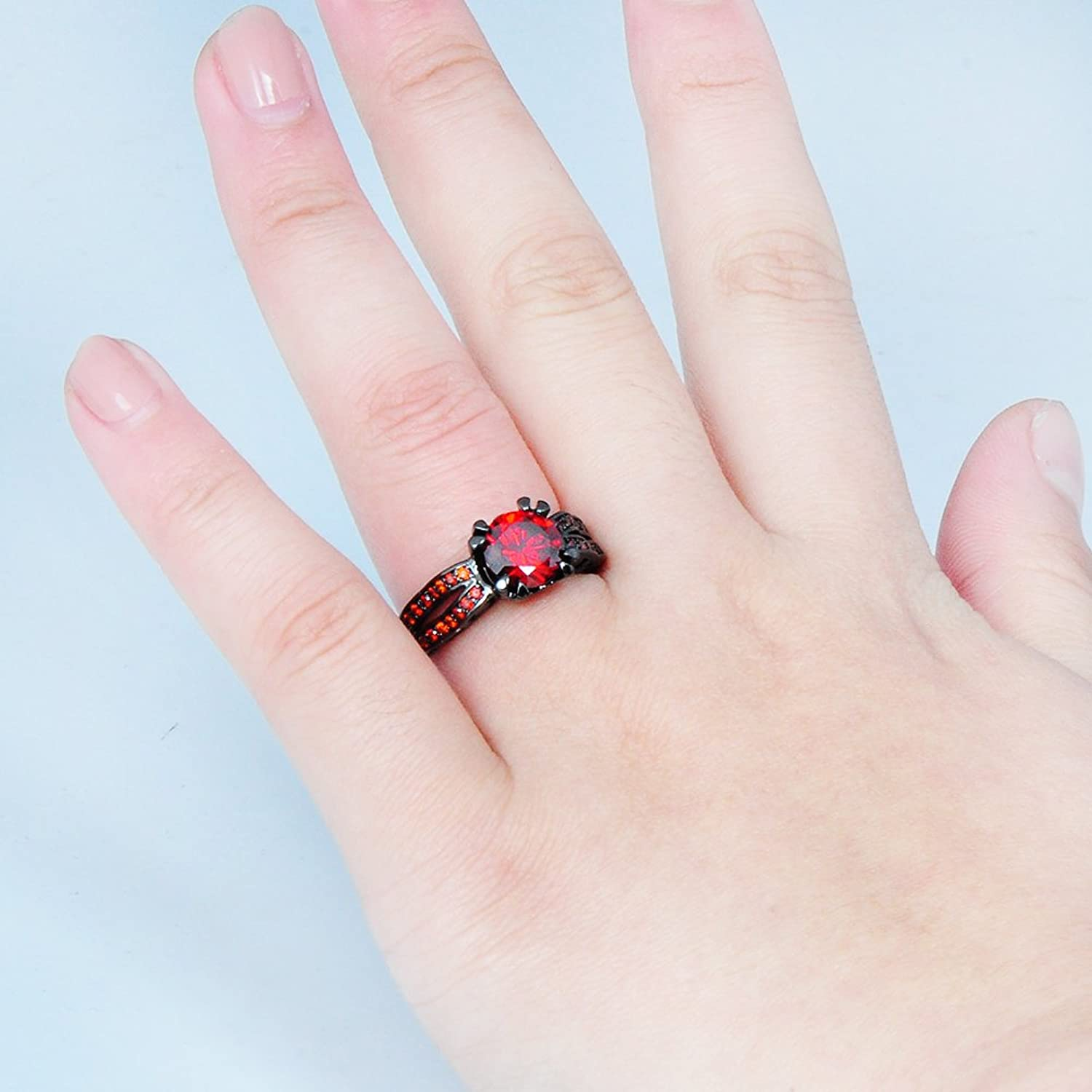 JunXin Black Gold 8MM Round Dark Red Ruby CZ Filled Solitaire Ring ...
