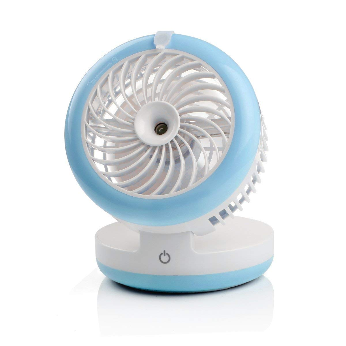 Cingk Personal Fan Cooling Misting Fan, Portable USB Rechargeable Fan, Power Bank, Table Desk Mini Humidifier, Multifunction 3 in 1, Blue