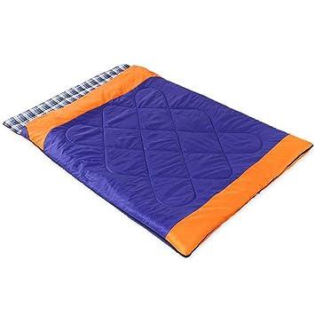 AiNaMei Al aire libre desmontable camping saco de dormir doble adulto franela, azul: Amazon.es: Deportes y aire libre