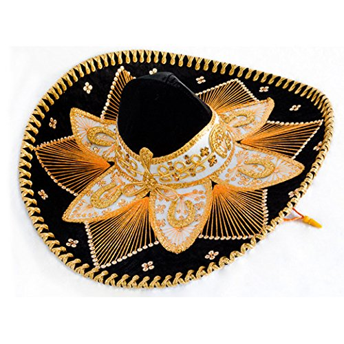 Black and Gold Mariachi Sombrero (Felt Sombrero)