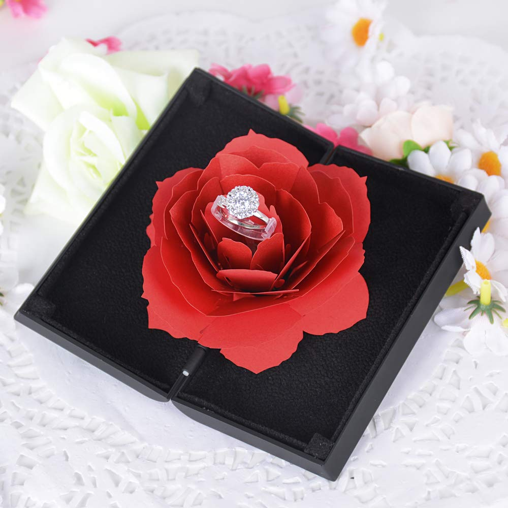 BUONDAC Caja para Anillos con Flor de Rosa Estuche Porta de Anillo Joyeria Alianza para Propuesta de Matrimonio Compromiso Boda el d/ía de San Valent/ín Caja Regalo