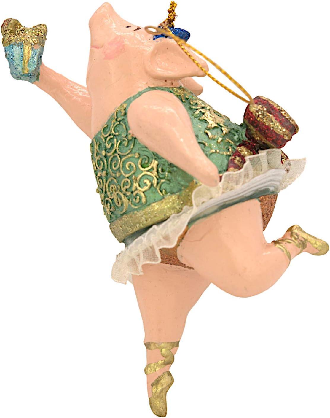 ecosoul Schwein Schweinchen Ballerina Figur Deko H/änger Christbaumschmuck 11 cm gr/ün-Gold