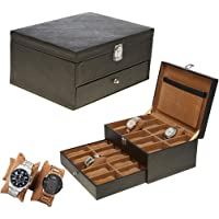 Leather World Brown Pu Leather Designer 20 Watch Box Case with Clasp Closure Travel Bag