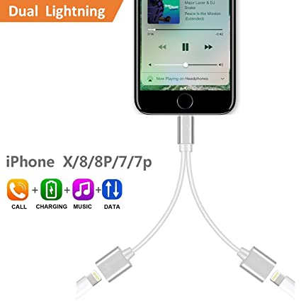 pretty nice 38026 eff3f 2-in-1 Lightning Splitter Adapter for iPhone 7 / 8 / X / 7 plus / 8 plus,  Double lightning ports for dual Lightning Headphone Audio and Charge ...