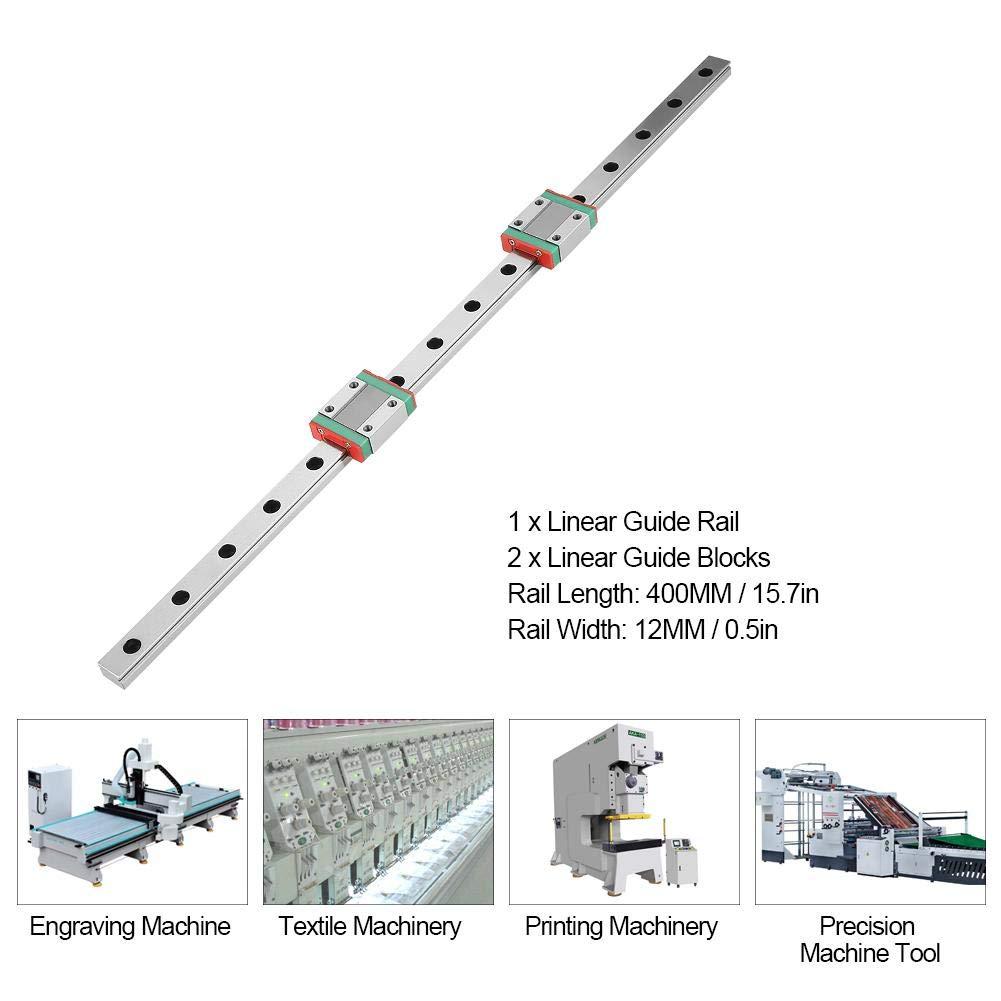 2pcs MGN12B Bearing Block 400mm MGN12 Miniature Linear Rail Guide 12mm Width