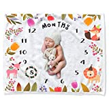 CAVN Baby Monthly Milestone Blanket Shower Gifts Set for Girl Boy, Thick/Soft/Cozy Flannel 0-12 Months Photography Backdrop Photo Props for Newborn Infant and New Expectant Moms (Multicolor)