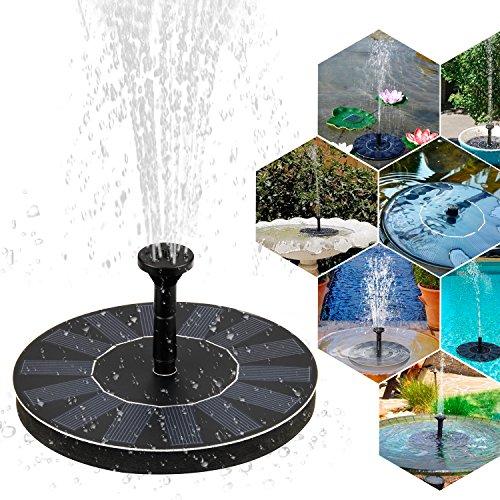 Solar Springbrunnen, Mture Solar Teichpumpe Springbrunnen Solar Pumpe mit 1.4W Monokristallinem Solar Wasserpumpe Fontäne Pumpe für Gartenteiche, Fisch-Behälter, Vogel-Bad und kleiner Teich