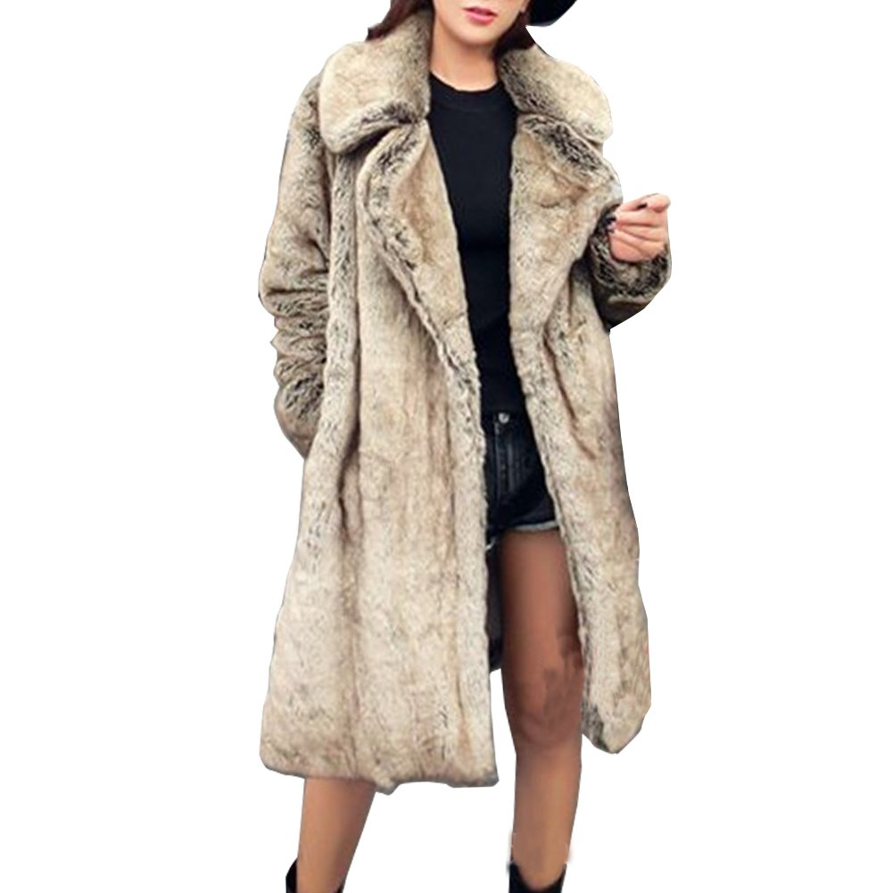 LIYT Women's Fashion Faux Fur Coat Winter Long Faux Mink Coat Overcoat