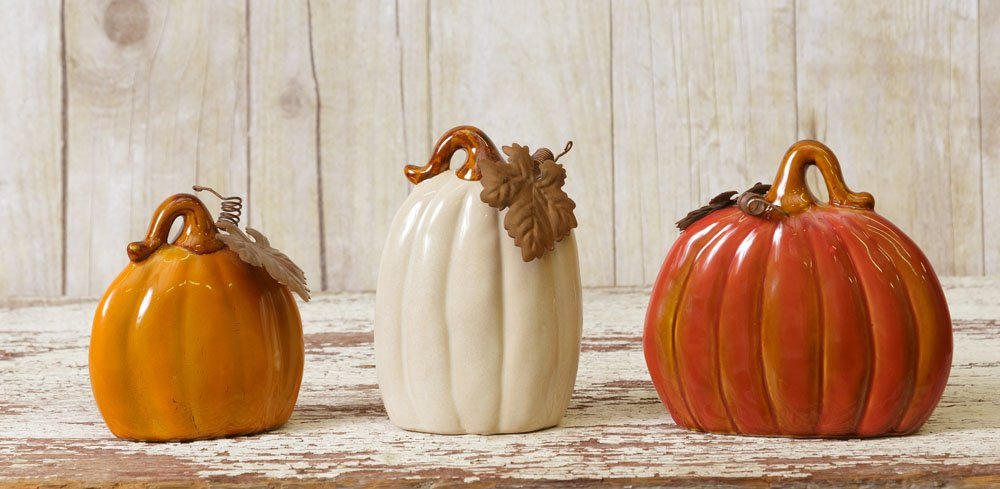 Harvest Pumpkin Gourds Orange White Glazed Ceramic Assorted Sizes Set of 3