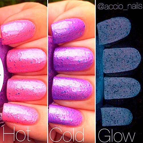 Unicorn Pink To Purple Color Changing AND Glow In The Dark Nail Polish