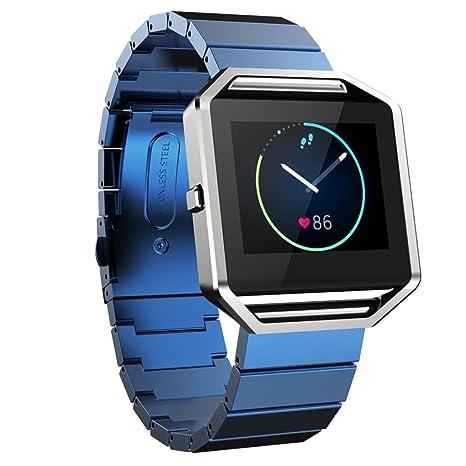 Pour Fitbit Blaze Montre Intelligente, xinantime classique boucle fashion Bracelet en acier inoxydable bande de montre noir Bleu moyen: Amazon.fr: Sports et ...