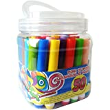 Histar 50 Different Colors Mini Jumbo Washable Markers;Assorted Colors;Conical Tip Broad Line Markers;