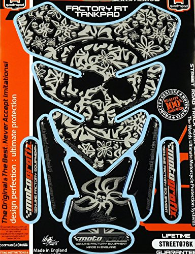 (Kawasaki Ninja Honda CBR Suzuki GSXR Yamaha YZF Hyosung Flower Skull Silver Motorcycle Tank Pad tankpad)