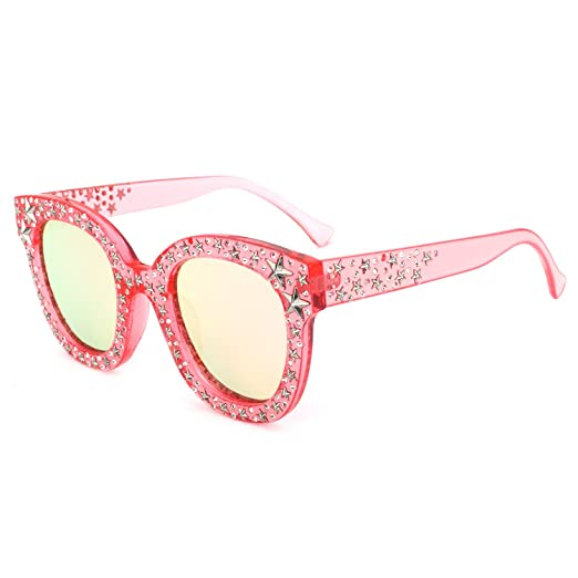 116403e9e1ad ROYAL GIRL Cat Eye Sunglasses For Women Fashion Designer Acetate Frame With  Star Pink Mirrored Lens