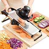: Mandoline Slicer - Vegetable, Potato, Tomato & Onion Cutter Mandolin - Best Kitchen Accessories for Fruits & Vegetables - Stay Safe with New Hand Holder - Easily Adjustable