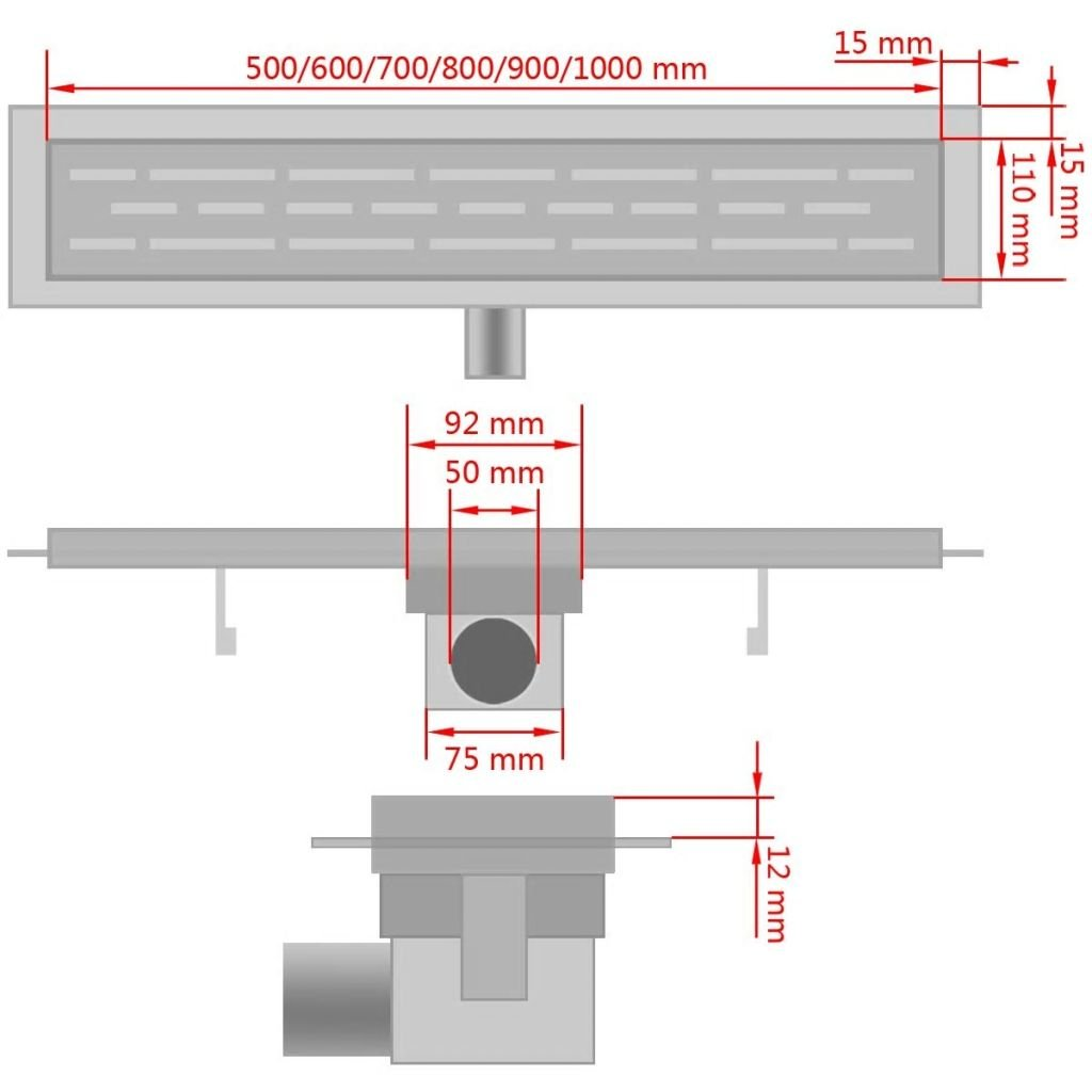 vidaXL Desag/üe Lineal Ducha L/íneas 530x140 mm Flujo 40 L//min Acero Inoxidable