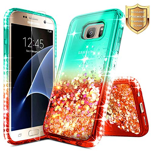 S7 Case, Galaxy S7 Glitter Case w/[Tempered Glass Screen Protector], NageBee Liquid Quicksand Waterfall Floating Flowing Sparkle Shiny Bling Diamond Girls Cute Case for Samsung Galaxy S7 -Teal/Red
