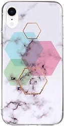 Girlscases® | iPhone XR Hülle Marmor Schutzhülle mit Muster aus Silikon mit Marmor/Marble Aufdruck/Motiv Glänzend | Farbe: Weiß/Rosa / Grün/Blau / Gold