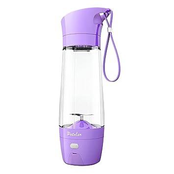 Petolar - Exprimidor eléctrico con función de banco de energía para botellas de frutas y verduras (430 ml), color morado: Amazon.es: Hogar