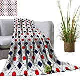 PearlRolan Couch Blanket Americana,Big Red Dots Squares and Dashed Cross Lines in Flag