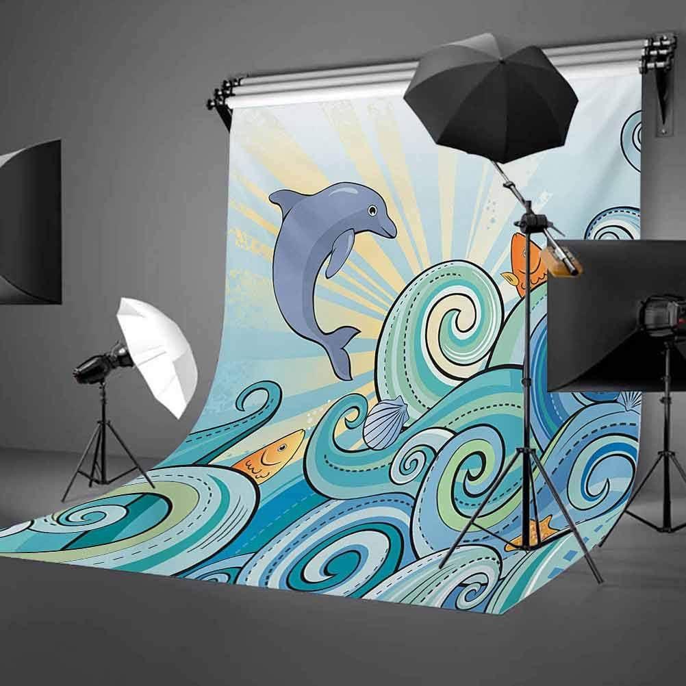 Sea Animals 10x12 FT Backdrop Photographers,Cartoon Dolphin Fish Starfish Shells in Ocean Marine in Summer Pattern Print Background for Child Baby Shower Photo Vinyl Studio Prop Photobooth Photoshoot