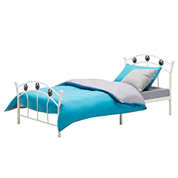 Mecor Metal 3ft Single Bed Frame Solid Bedstead Base With 2 Football