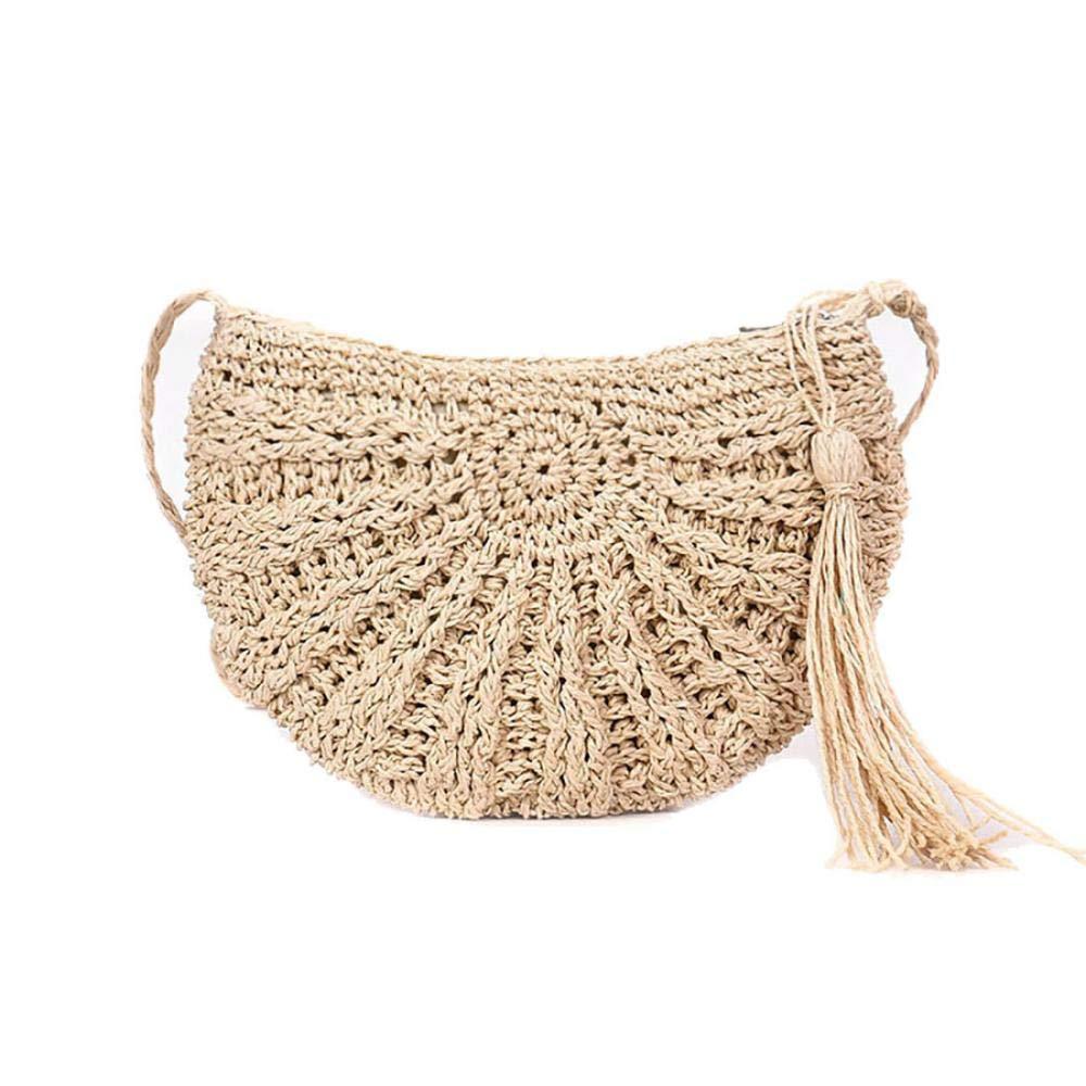 Straw Crossbody Bag, CAMUSX Women Weave Shoulder Bag Summer Beach Purse for Travel Everyday Use (Beige)