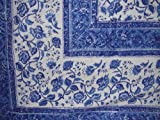 Homestead Rajasthan Block Print Tapestry Cotton Bedspread 108'' x 88'' Full-Queen Blue