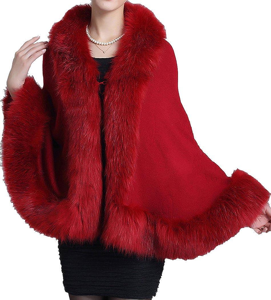 Helan Women's Faux Fox Fur Shawl Cloak Cape Coat With Floral FURCOAT14092902-BE