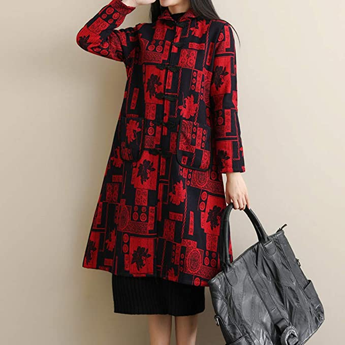 Amazon.com: AOJIAN Women Jacket Long Sleeve Outwear Temperament Folk-Custom Print Pocket Maxi Long Coat: Clothing