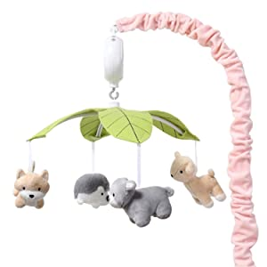 The Peanutshell Pink Woodland Animals Musical Crib Mobile for Baby Girls | Digital Music Box with 12 lullabies