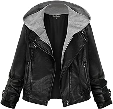 East Castle Womens Faux-Leather Outerwear Winter Fashion Trench Coat Jacket