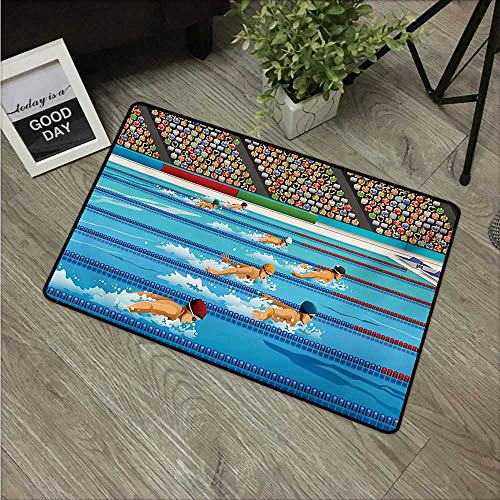 """HRoomDecor Olympics,All Weather Door Mats Illustration of Swimmers During Swimming Competition Sports Theme Cartoon Art W 20"""" x L 31"""" Printing Non-Slip Floor Mat Blue Beige Red"""