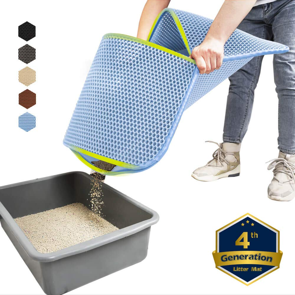 WePet Cat Litter Mat, Kitty Litter Trapping Mat, Large Size, Honeycomb Double Layer, No Phthalate, Urine Waterproof, Easy Clean, Scratch Scatter Control, Catcher Box Pads Rug Carpet 30x25 Inch Blue by WePet