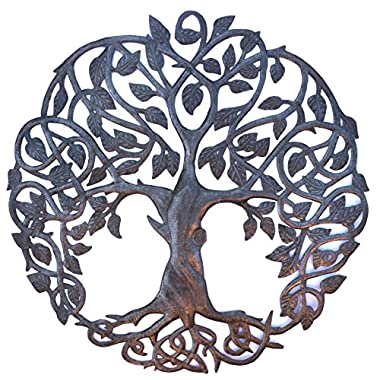 **New Design** Celtic Inspired Tree of Life, Metal Wall Art, Fair trade from Haiti, 23  X 23